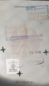 Visum zur Einreise in die DDR 1988